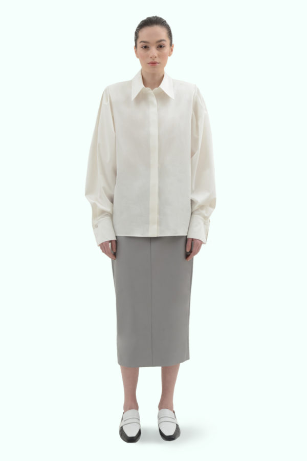 White cotton shirt with shoulder pads