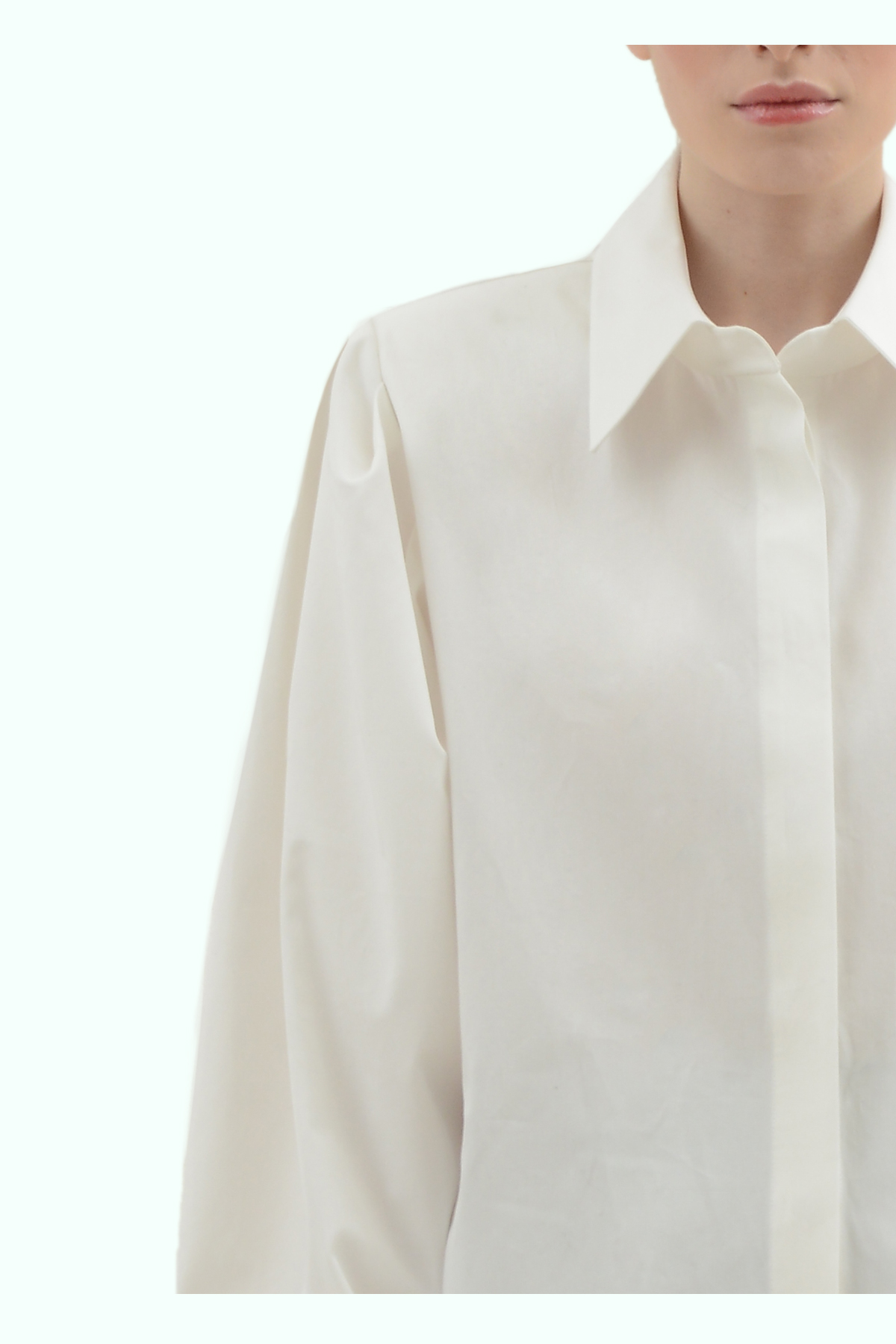 White cotton shirt with shoulder pads 3