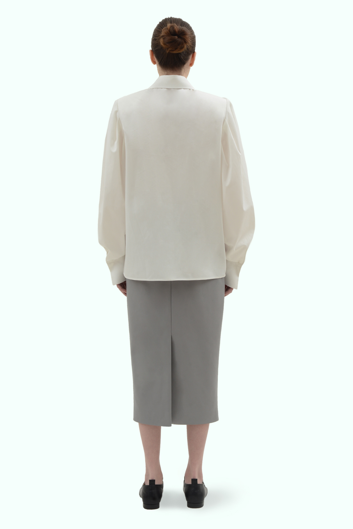White cotton shirt with shoulder pads 4