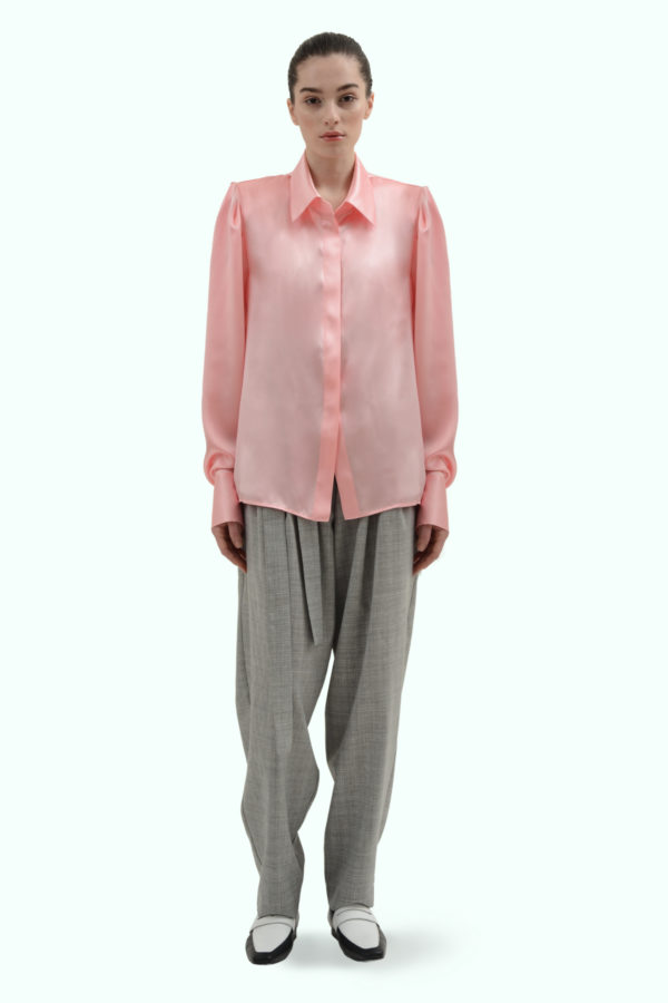 Pink satin silk shirt with shoulder pads