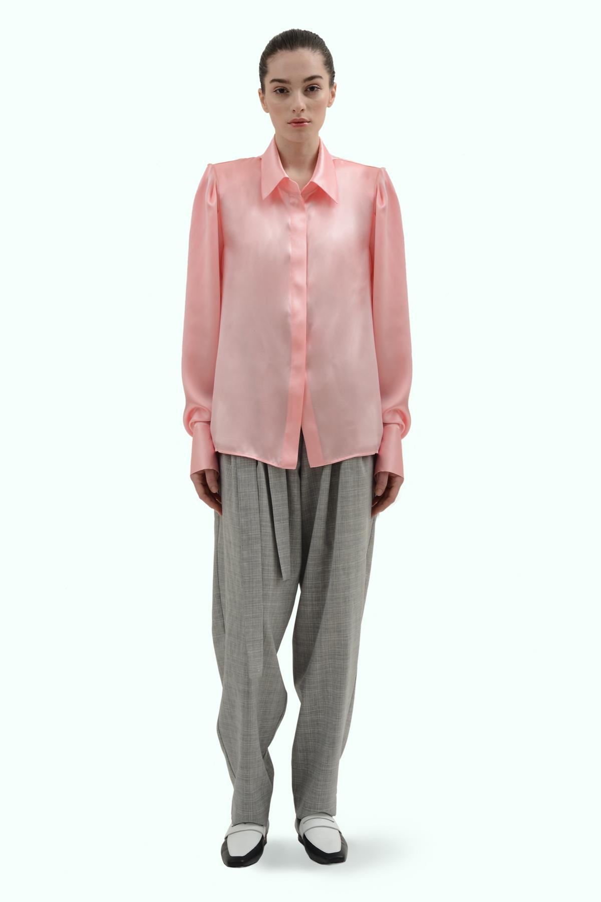 Pink satin silk shirt with shoulder pads 2