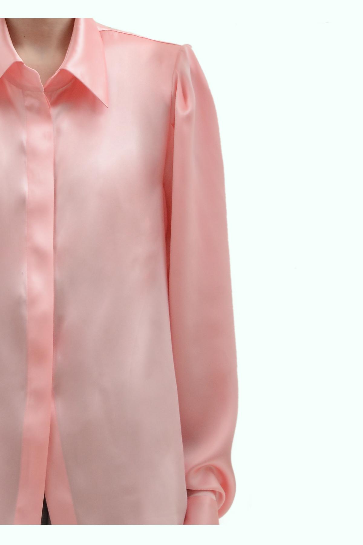 Pink satin silk shirt with shoulder pads 3