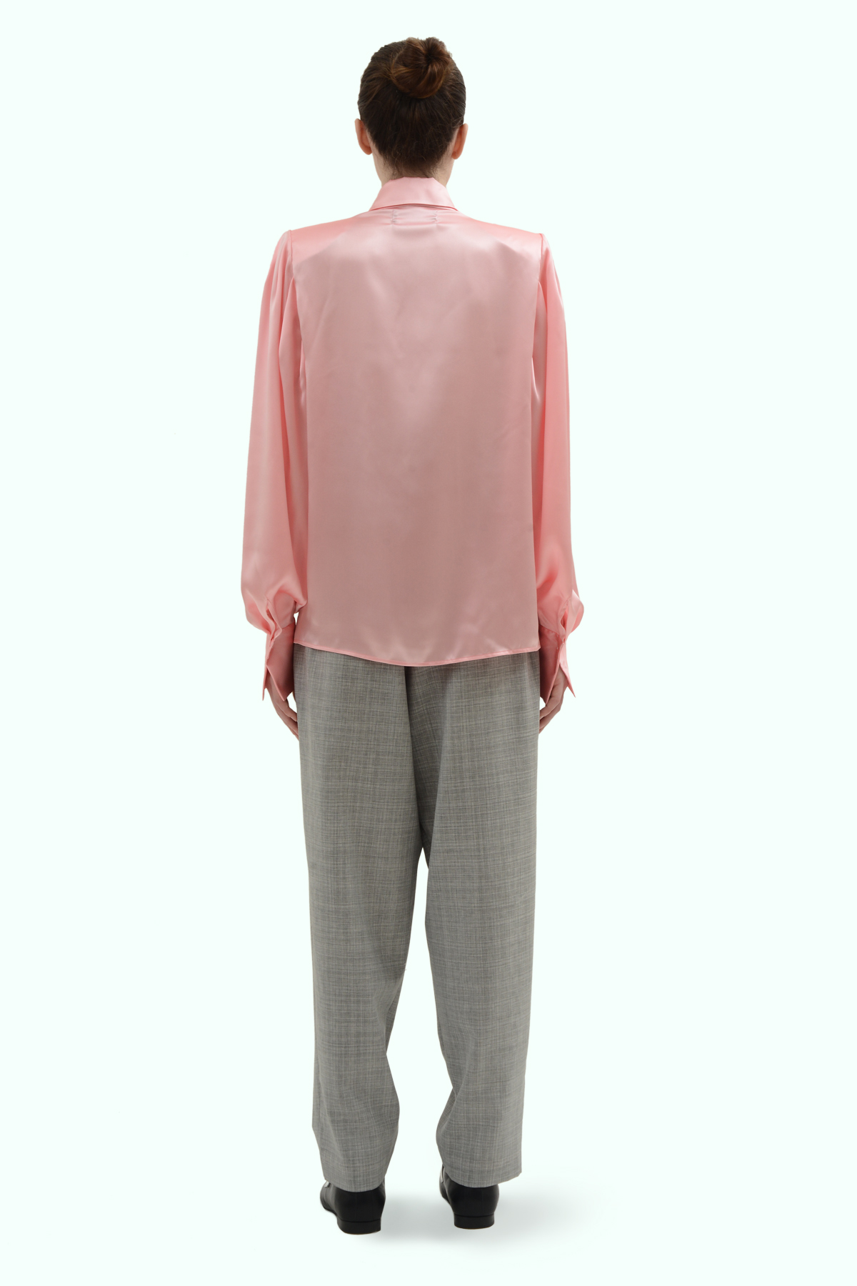 Pink satin silk shirt with shoulder pads 4