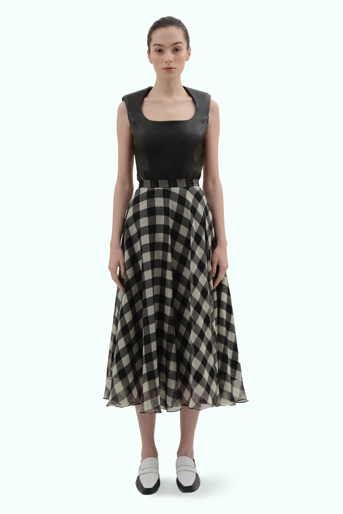 Black and light grey check chiffon skirt 2