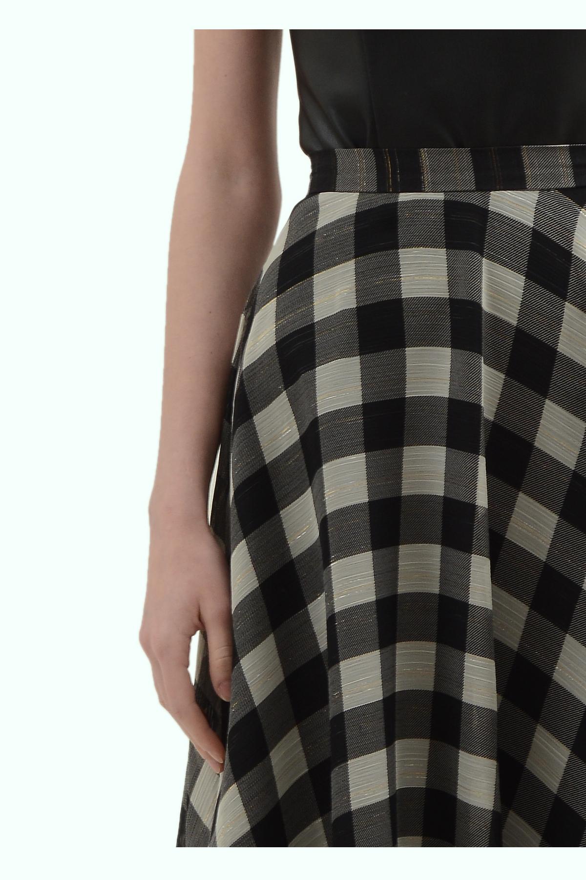 Black and light grey check chiffon skirt 3