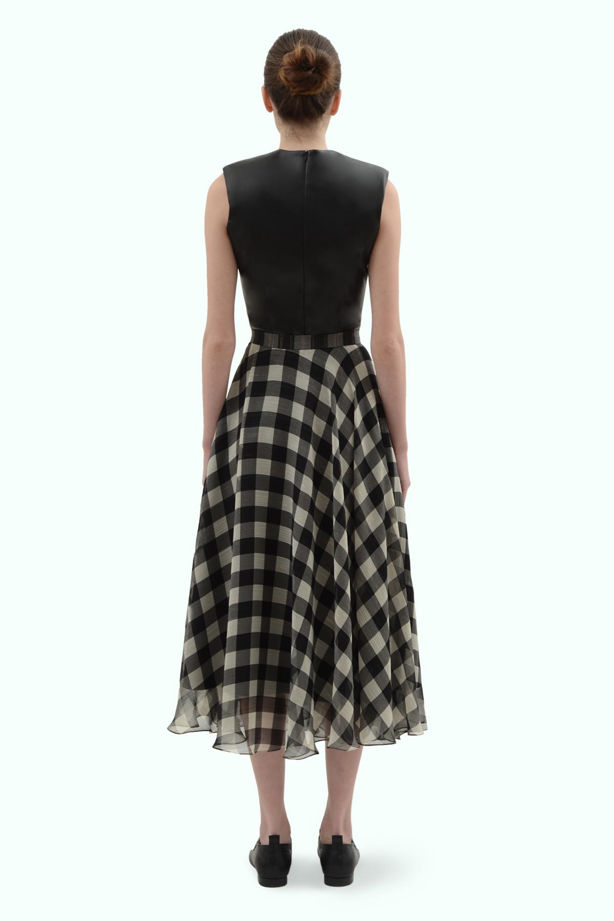 Black and light grey check chiffon skirt 4