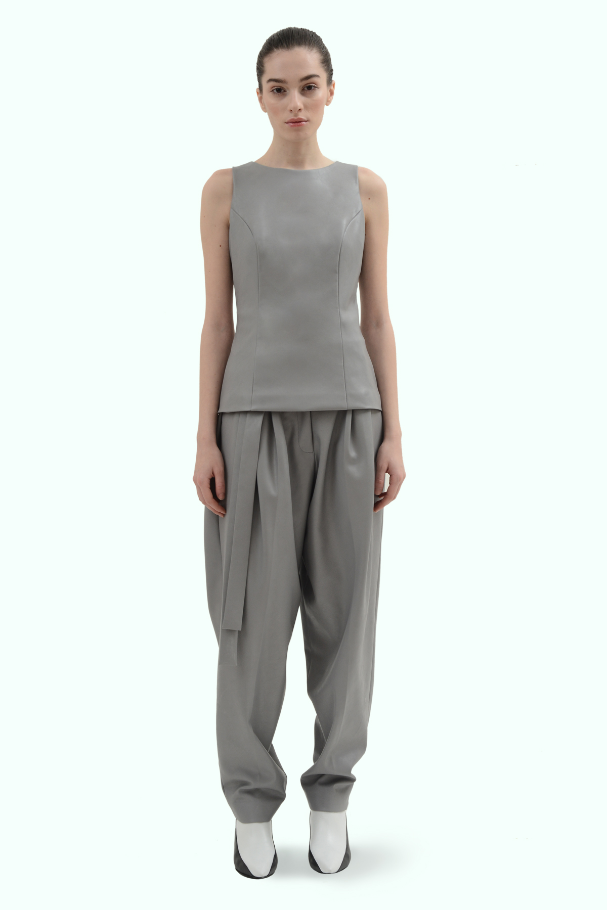 Grey vegan leather top 2