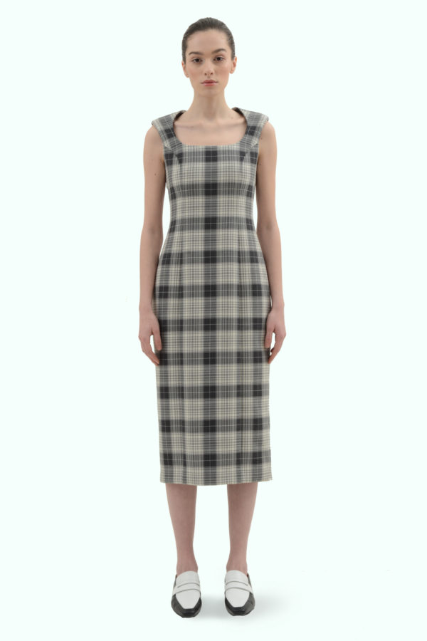 Black and grey check pencil dress