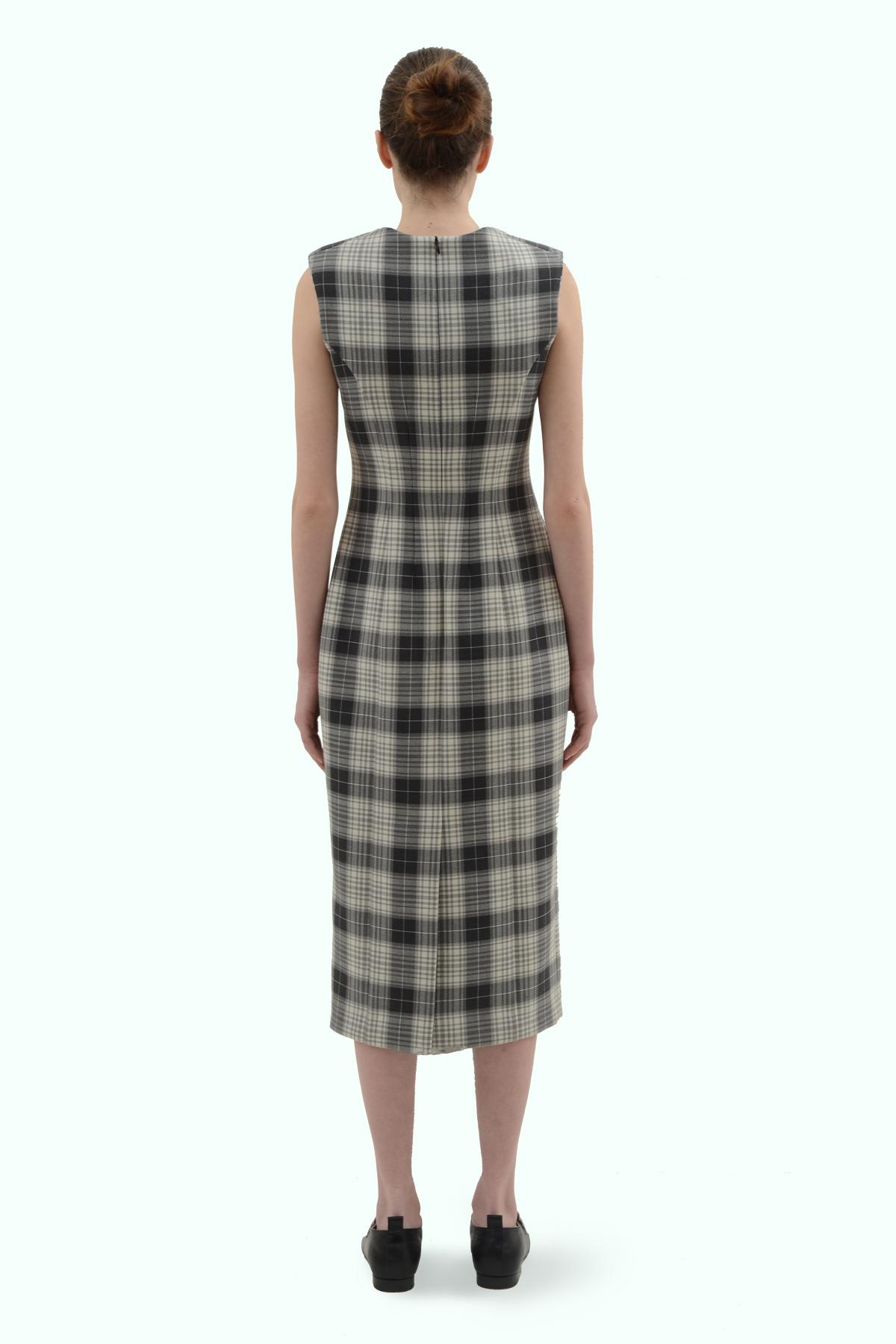 Black and grey check pencil dress 4
