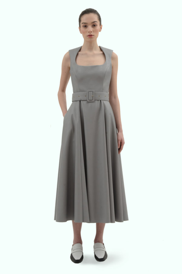 Grey vegan leather dress with a belt