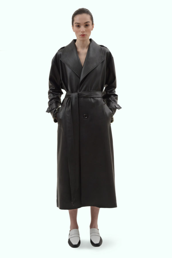 Black vegan leather reversible trench