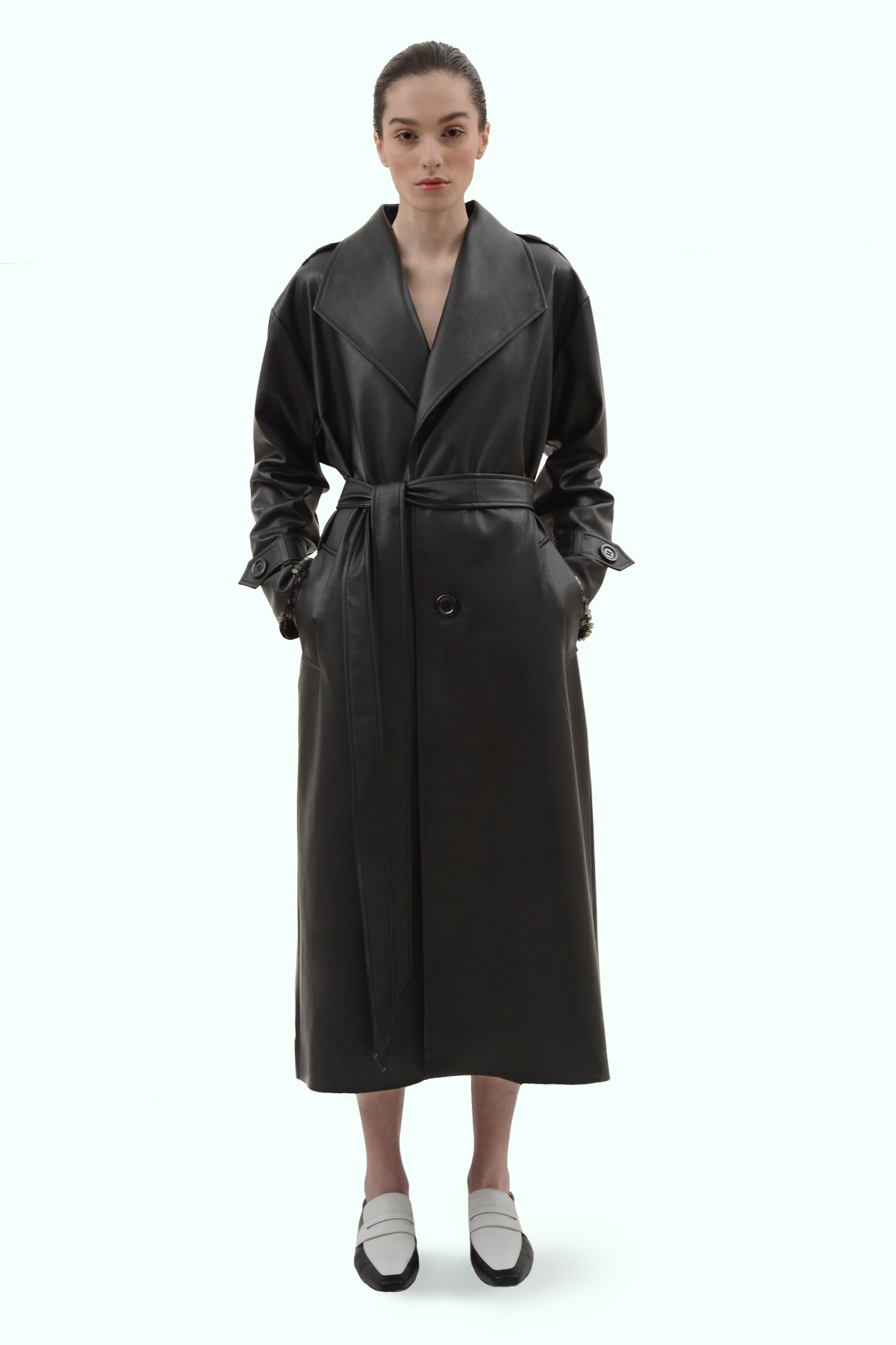 Black vegan leather reversible trench 2