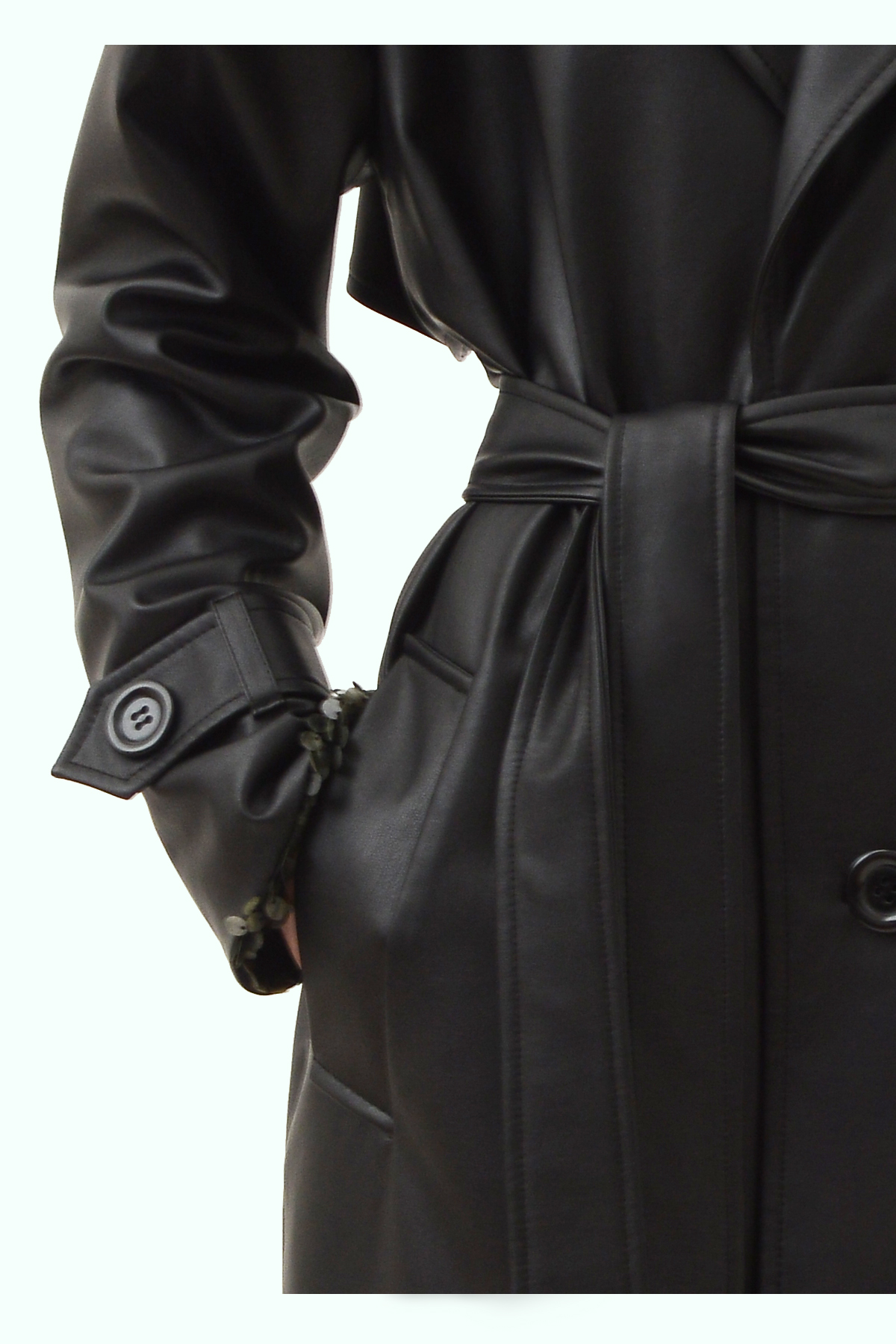 Black vegan leather reversible trench 3