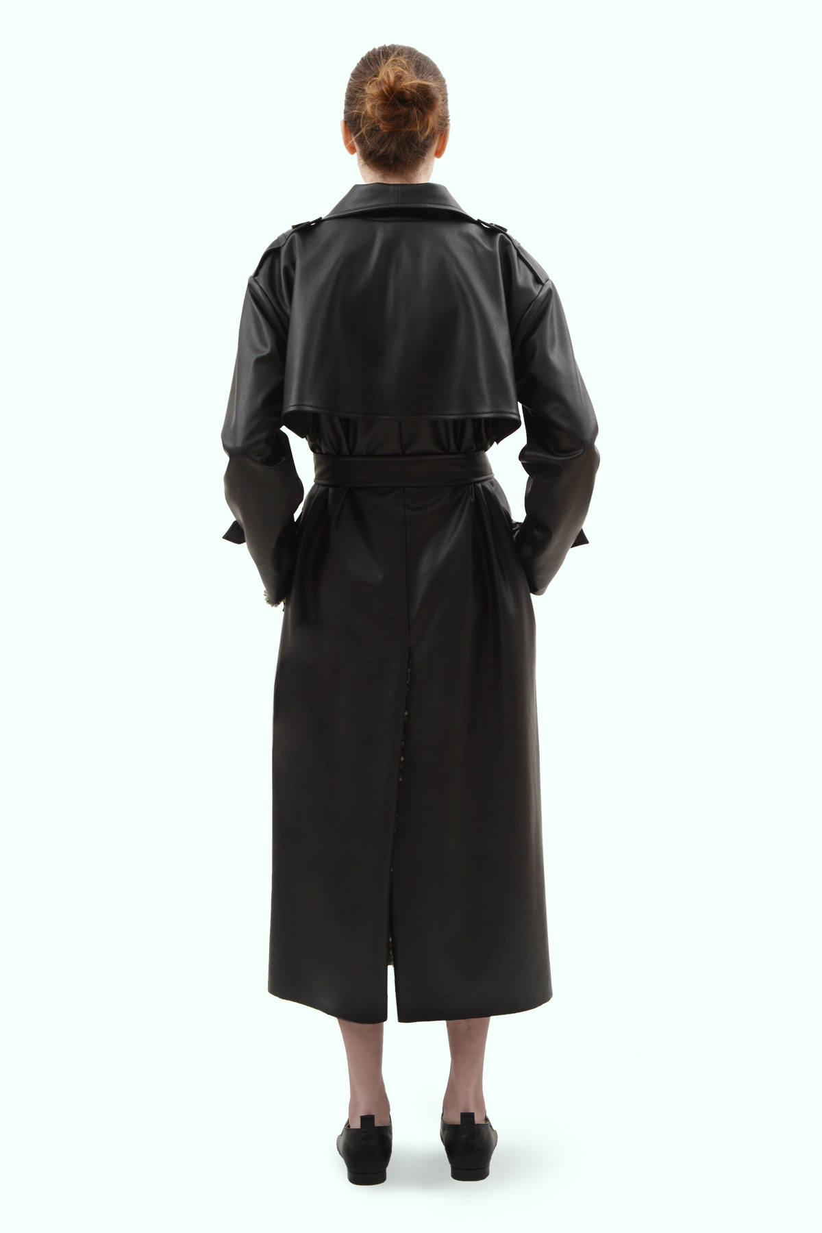 Black vegan leather reversible trench 4
