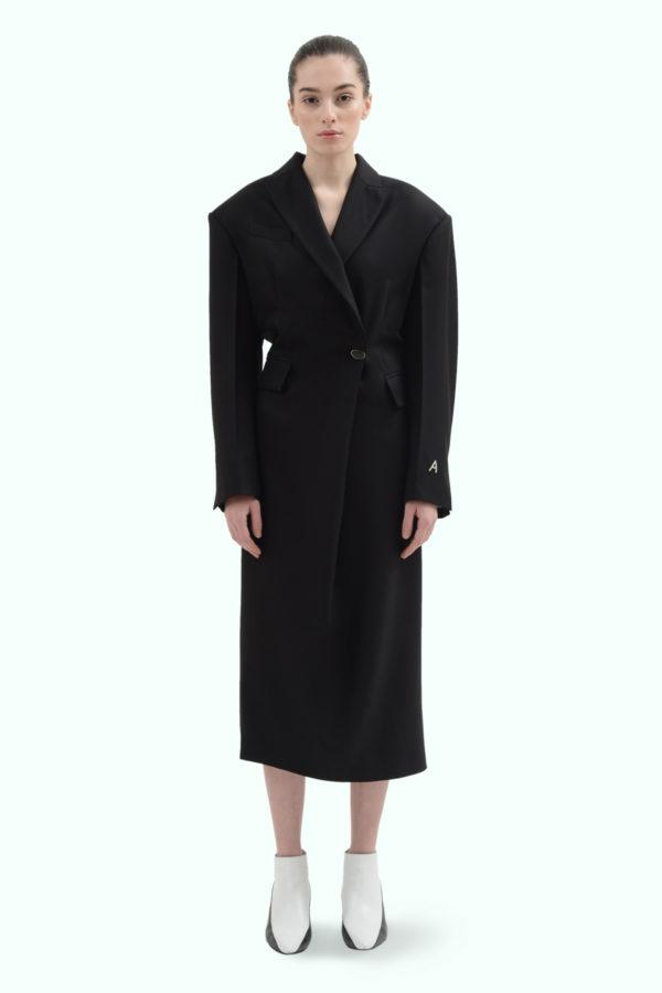 Black wool blazer double brest dress