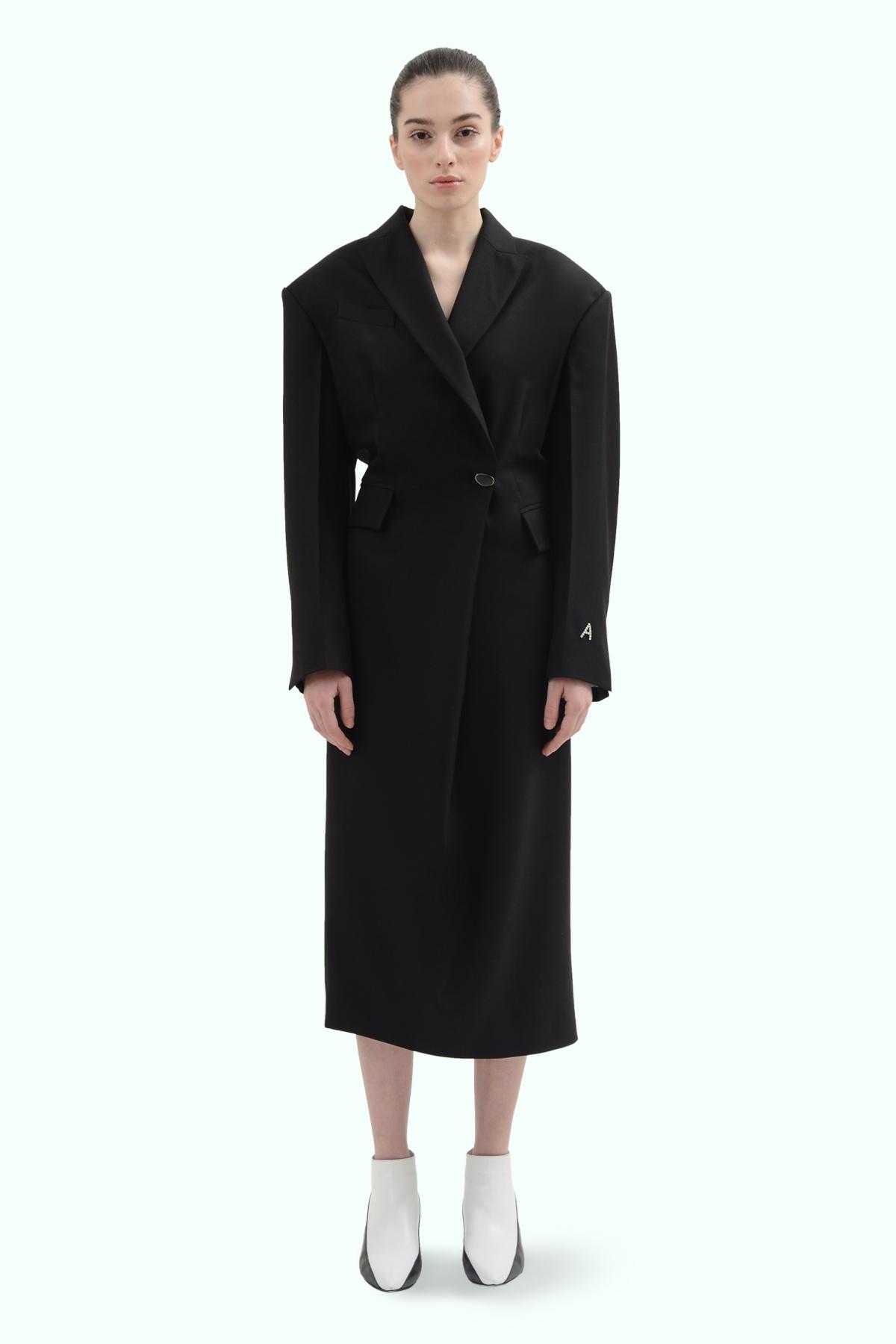 Black wool blazer double brest dress 2