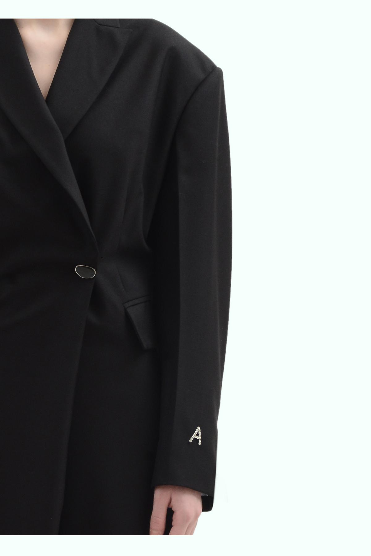 Black wool blazer double brest dress 3