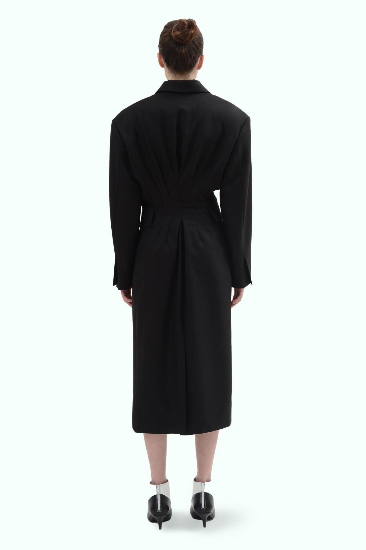 Black wool blazer double brest dress 4