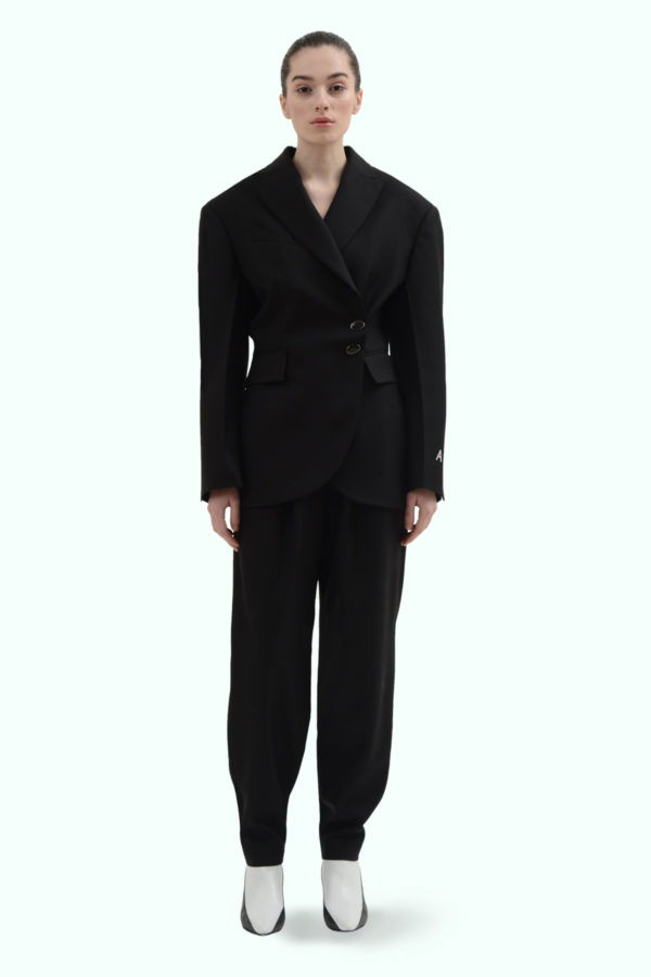Black wool side button blazer