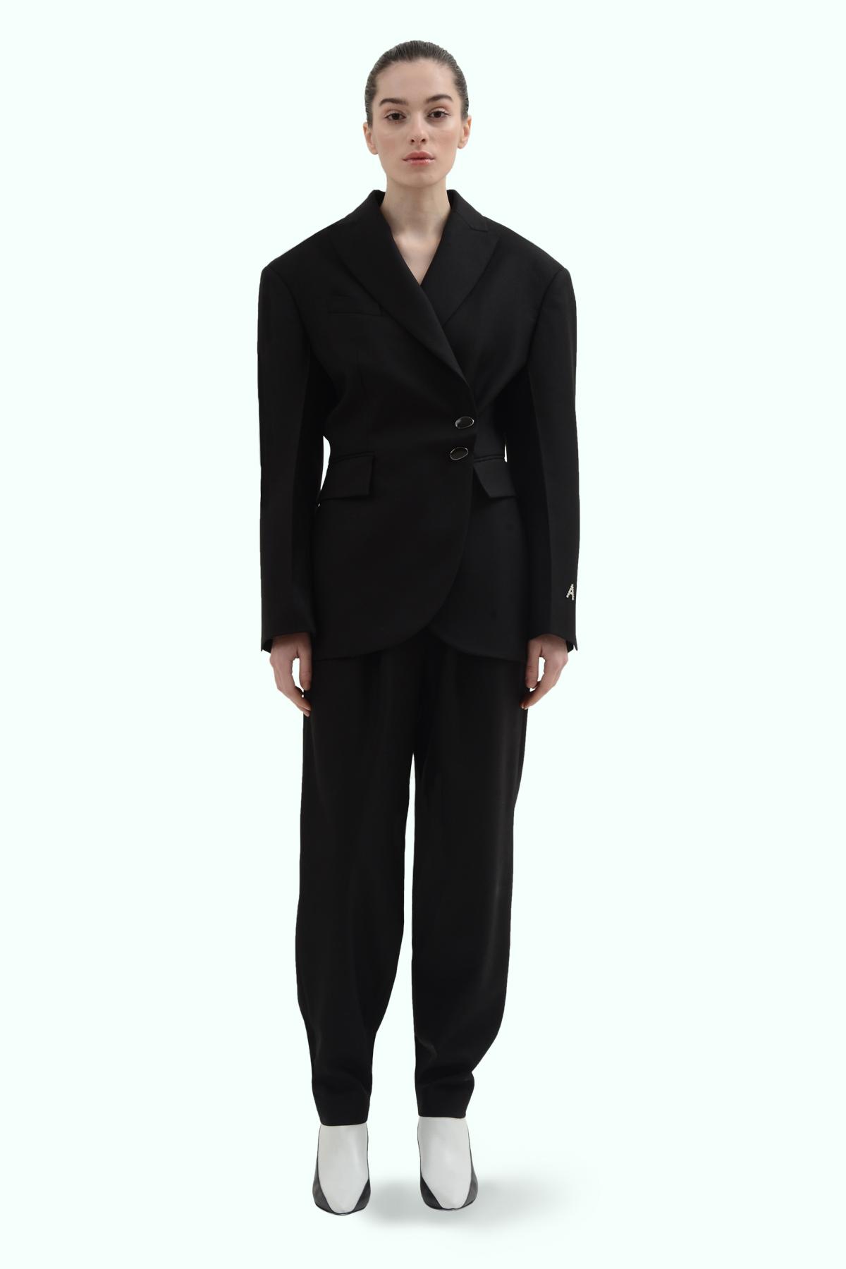 Black wool side button blazer 2