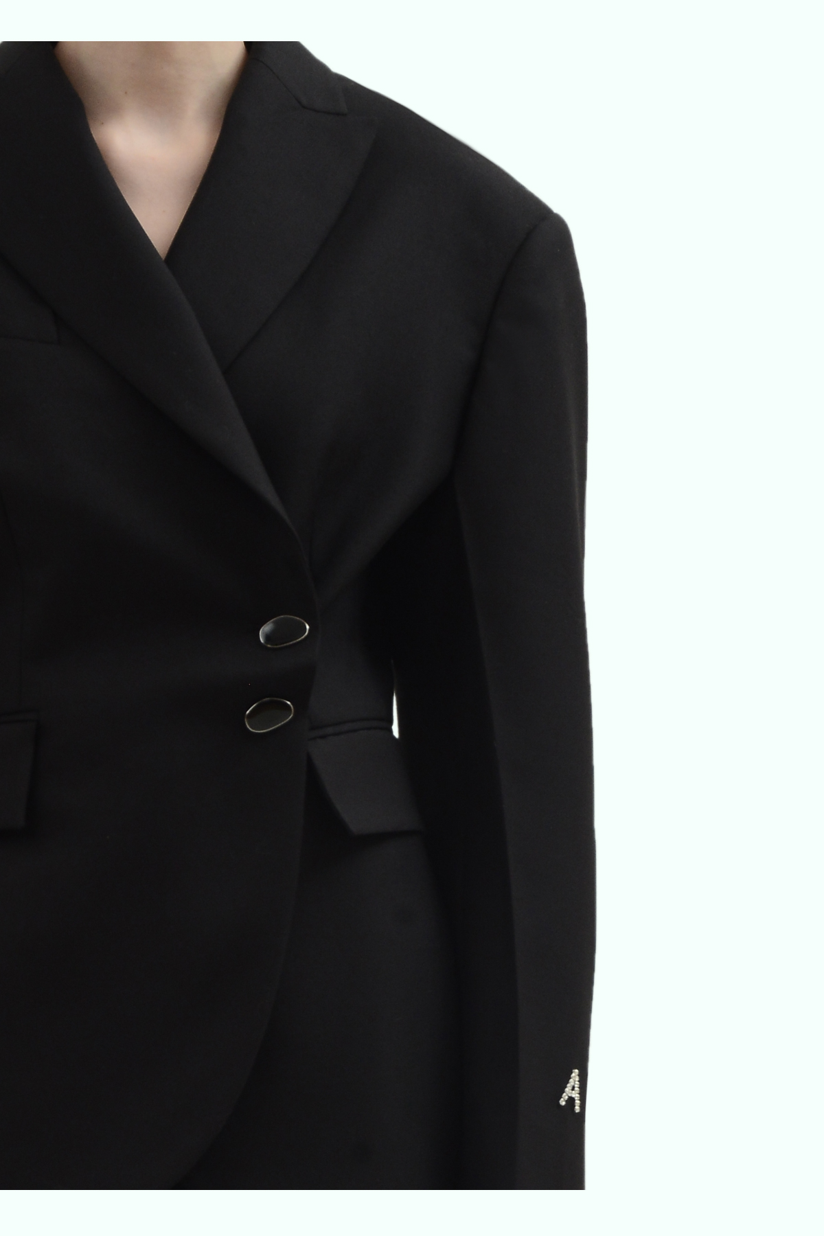 Black wool side button blazer 3