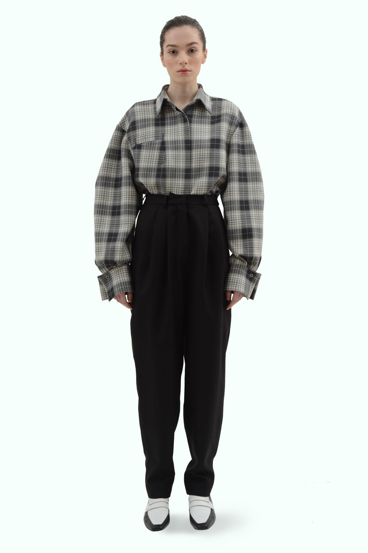 Black wool high waist pants 2
