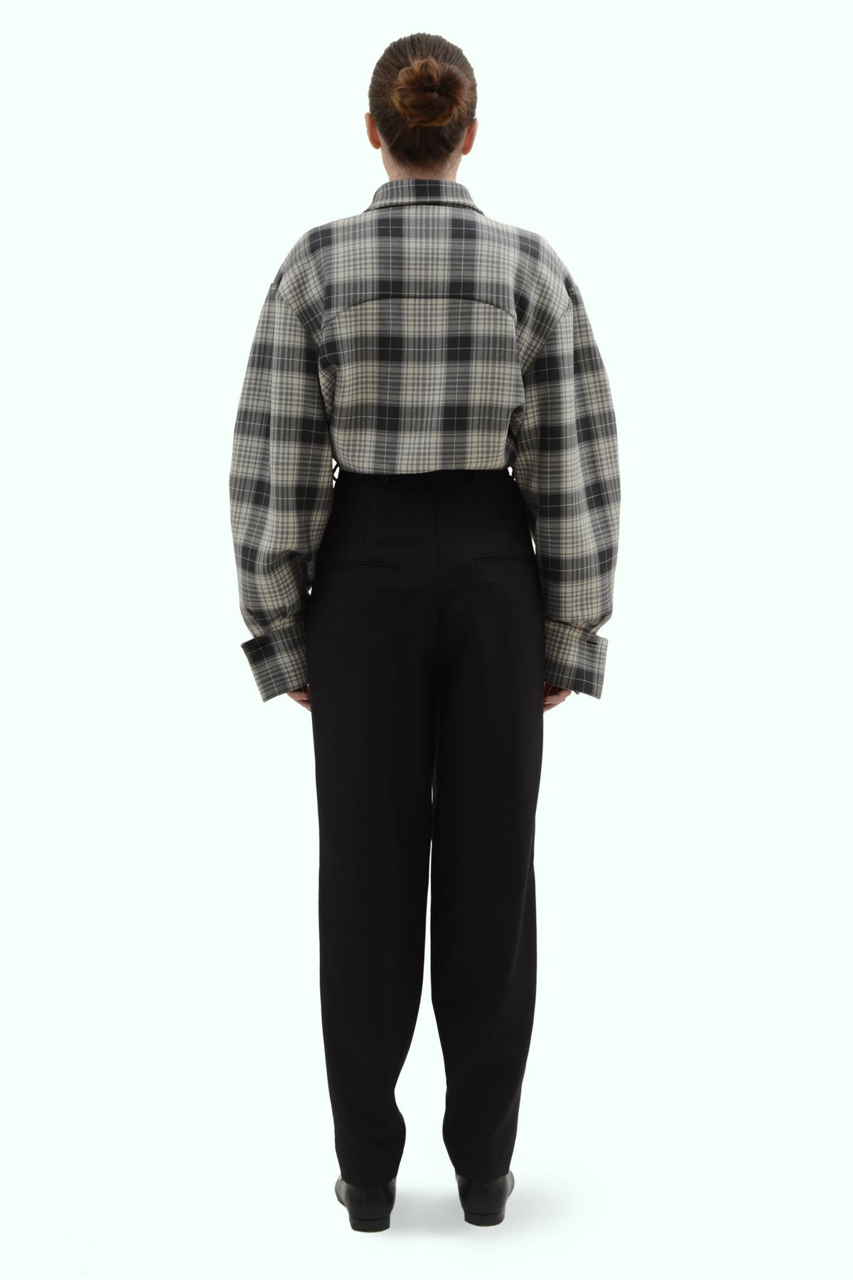 Black wool high waist pants 4