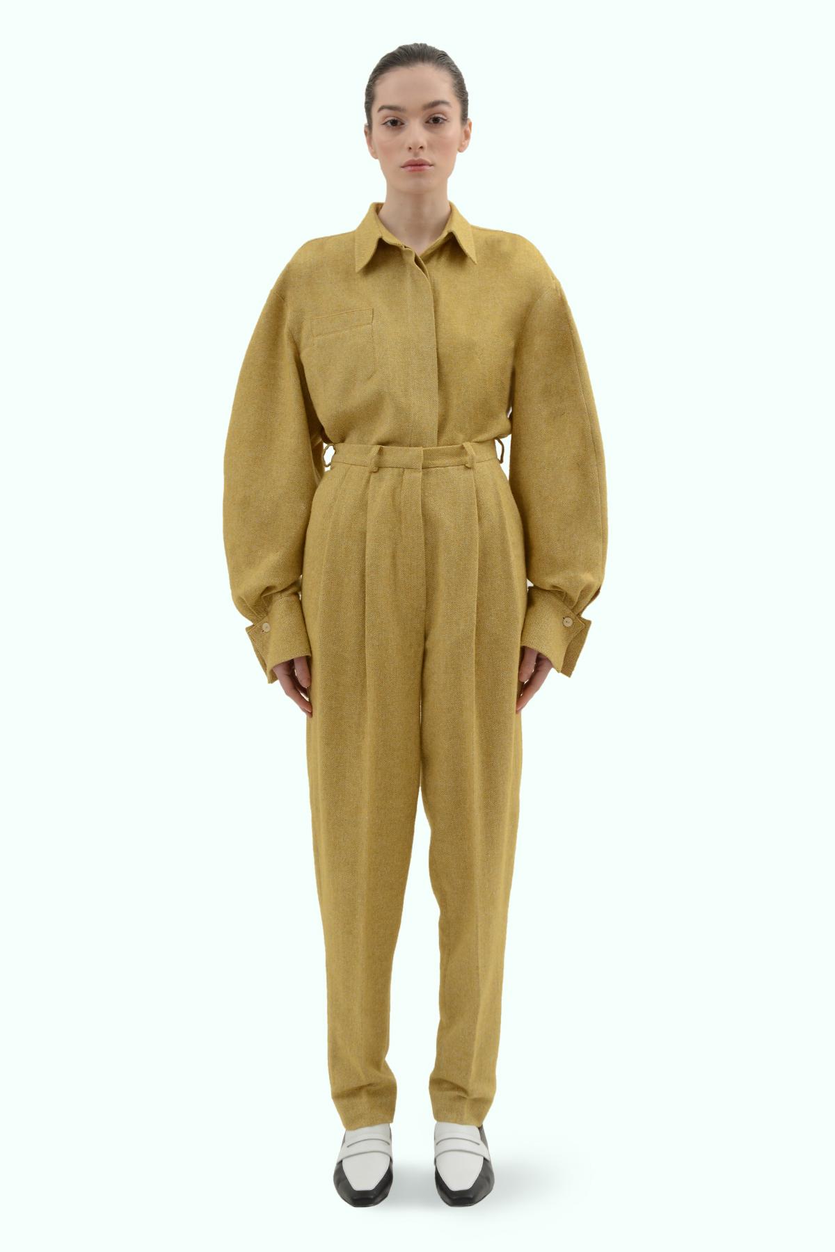 Mustard tweed high waist pants 2