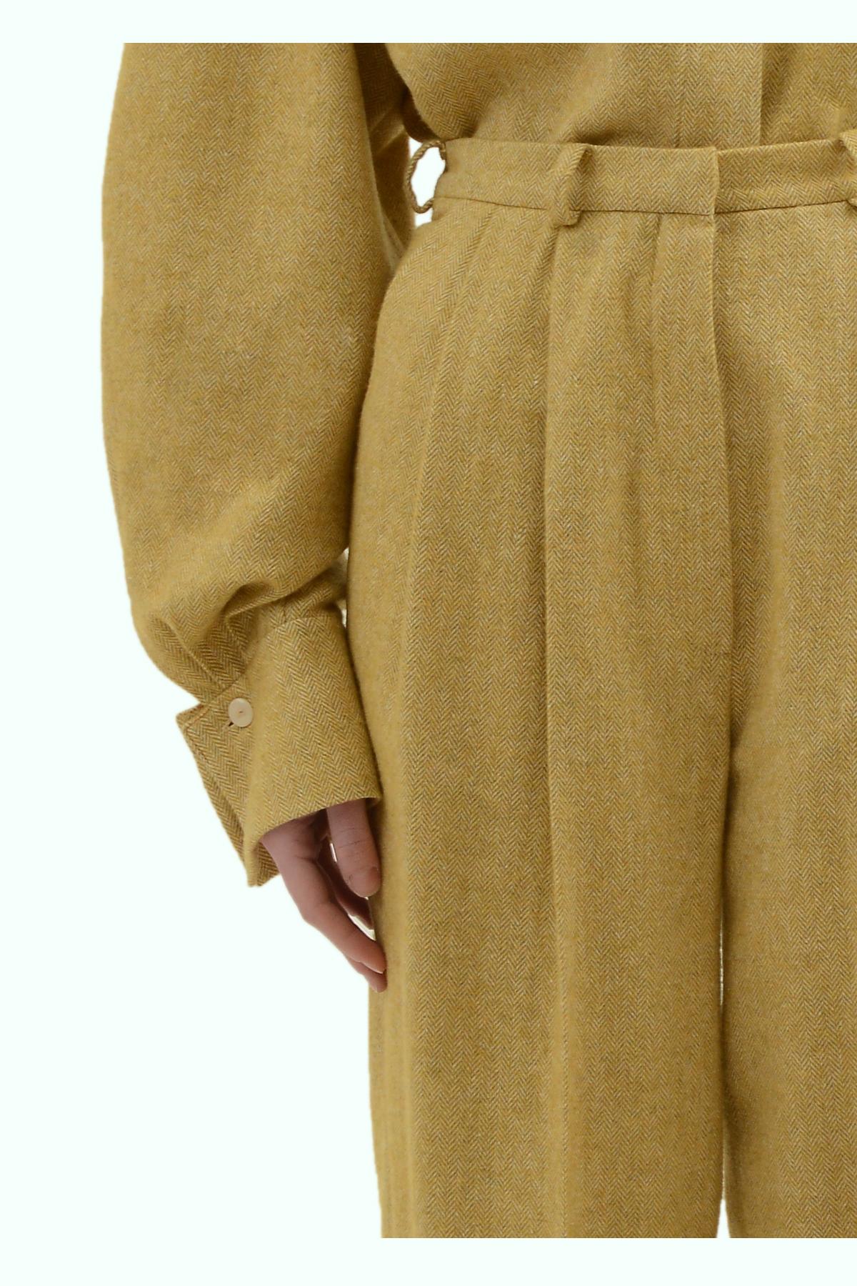 Mustard tweed high waist pants 3
