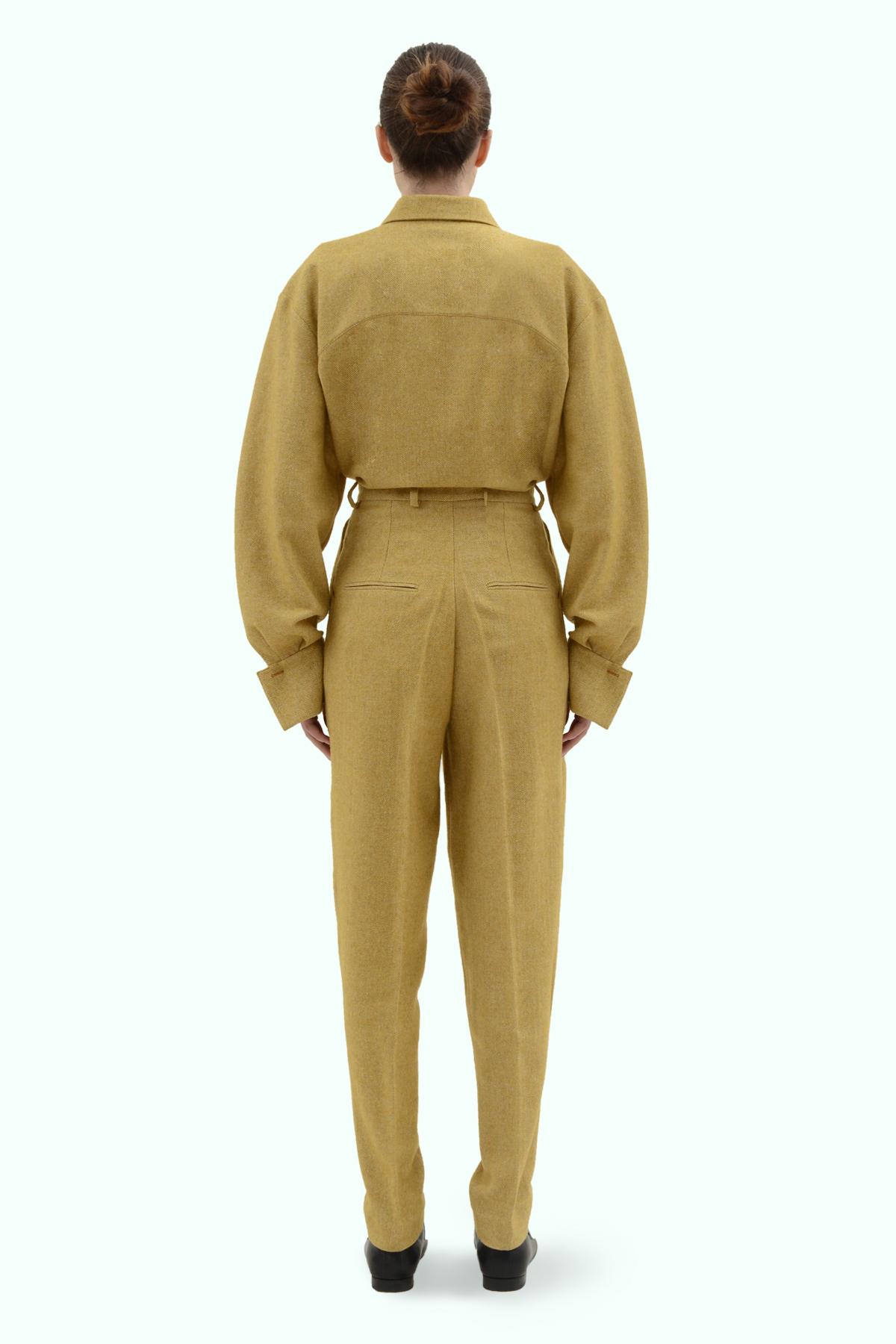 Mustard tweed high waist pants 4
