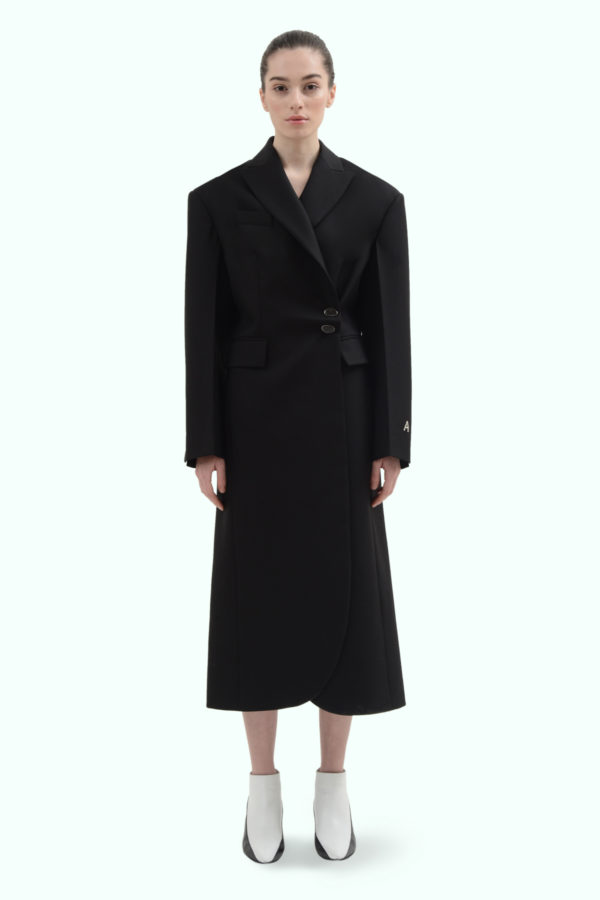 Black wool side button coat