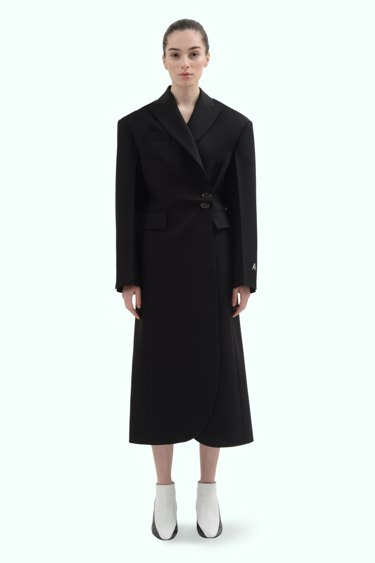 Black wool side button coat 2