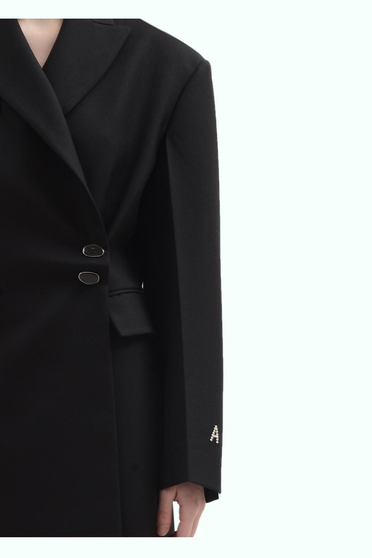 Black wool side button coat 3