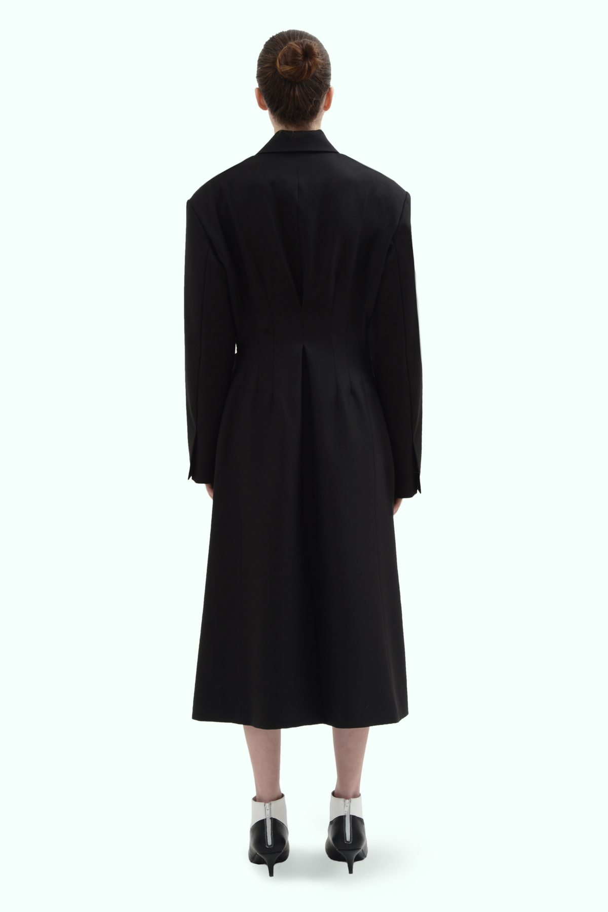 Black wool side button coat 4