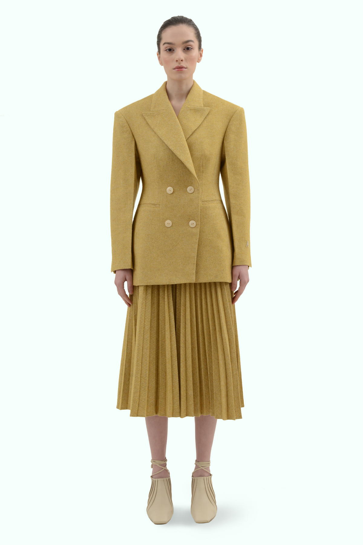 Mustard tweed double breast blazer 2