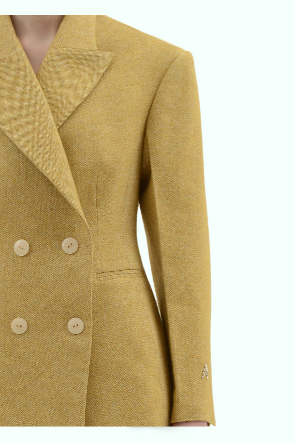 Mustard tweed double breast blazer 3