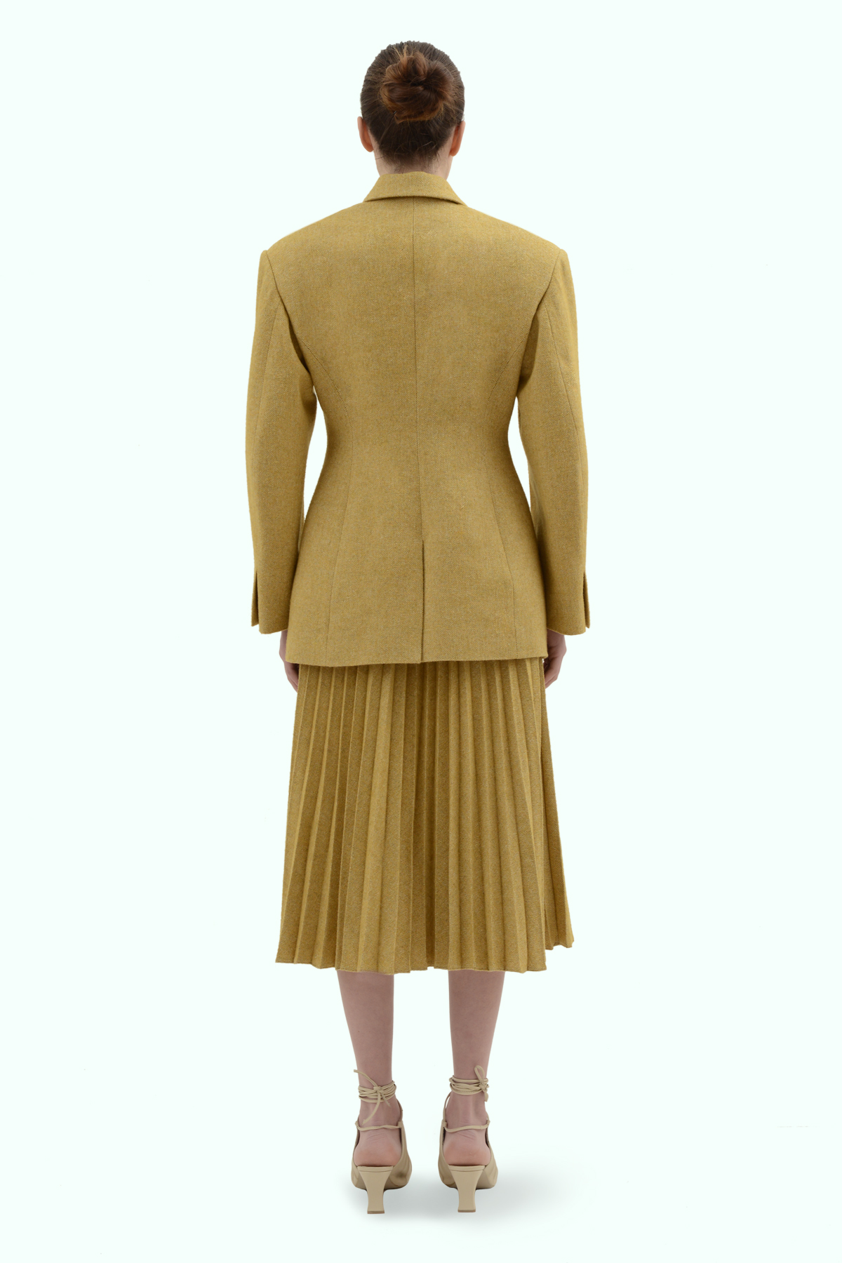 Mustard tweed double breast blazer 4