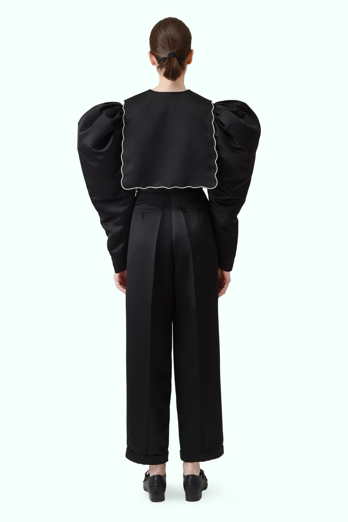 Black puff sleeve cropped top with puritan collar and crystal embroideries 3