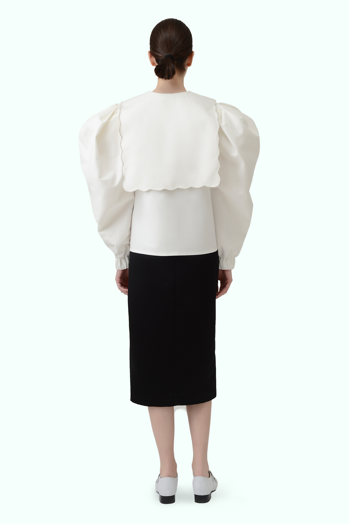 Puff sleeve top with puritan collar and embroidered crystals 3