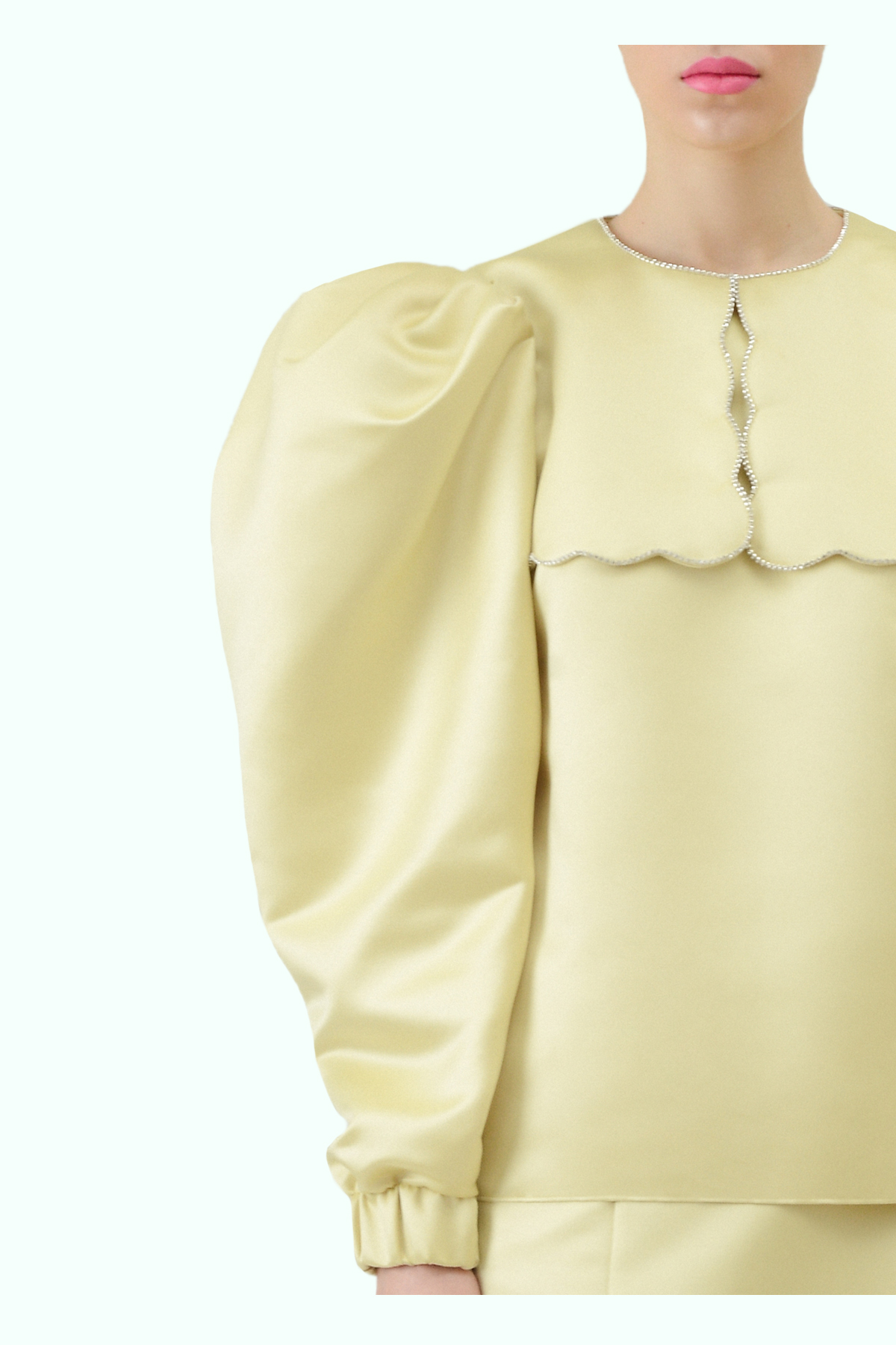 Puff sleeve yellow top with puritan collar and embroidered crystals 2
