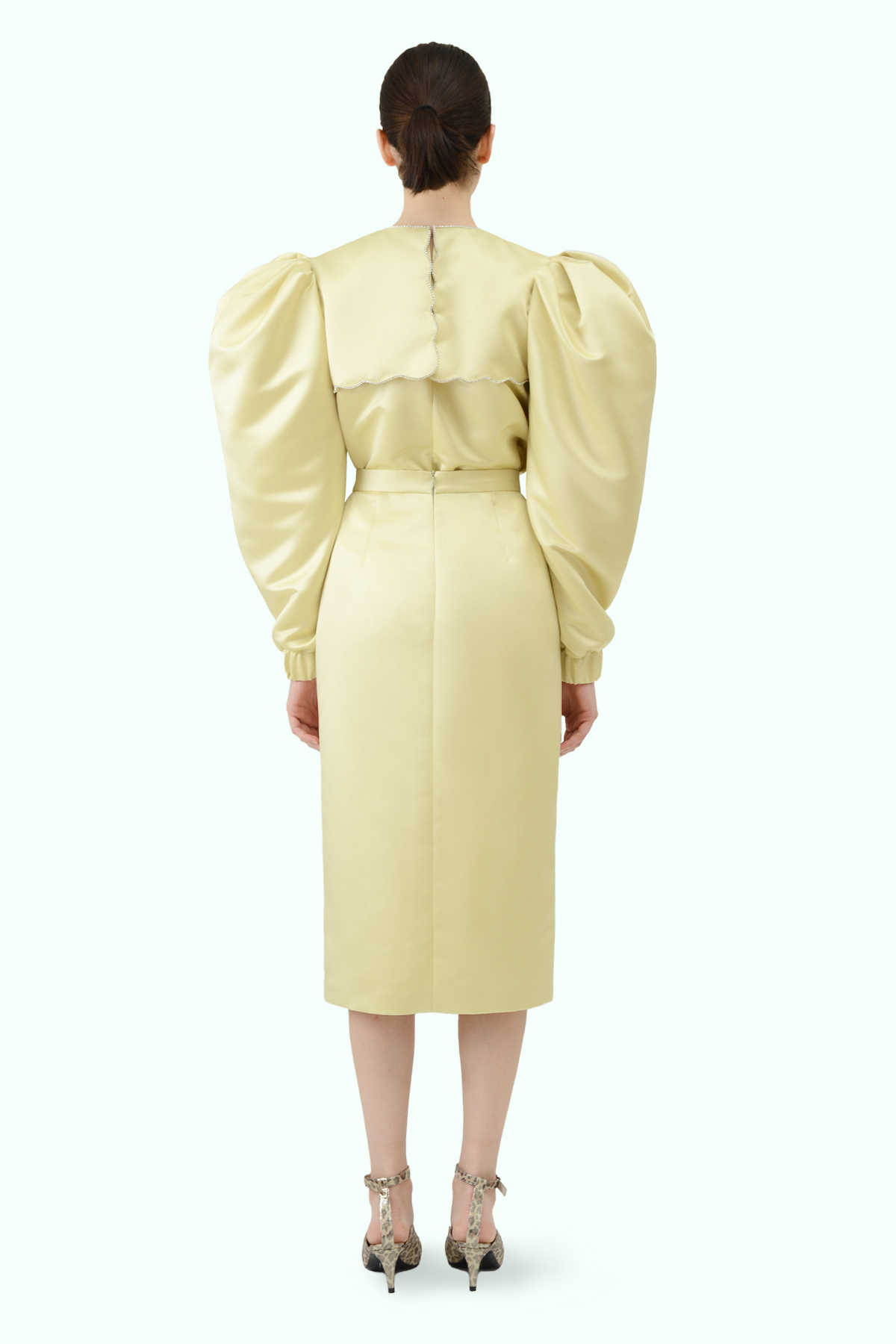 Puff sleeve yellow top with puritan collar and embroidered crystals 3