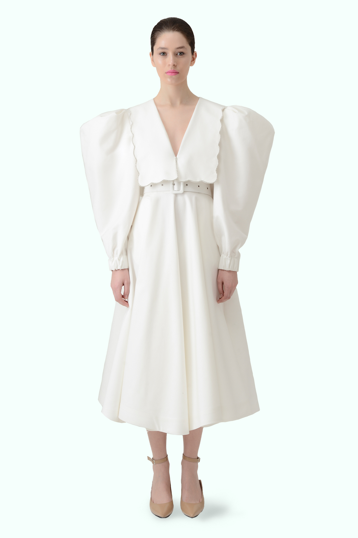 Puff sleeve dress with puritan collar and embroidered crystals