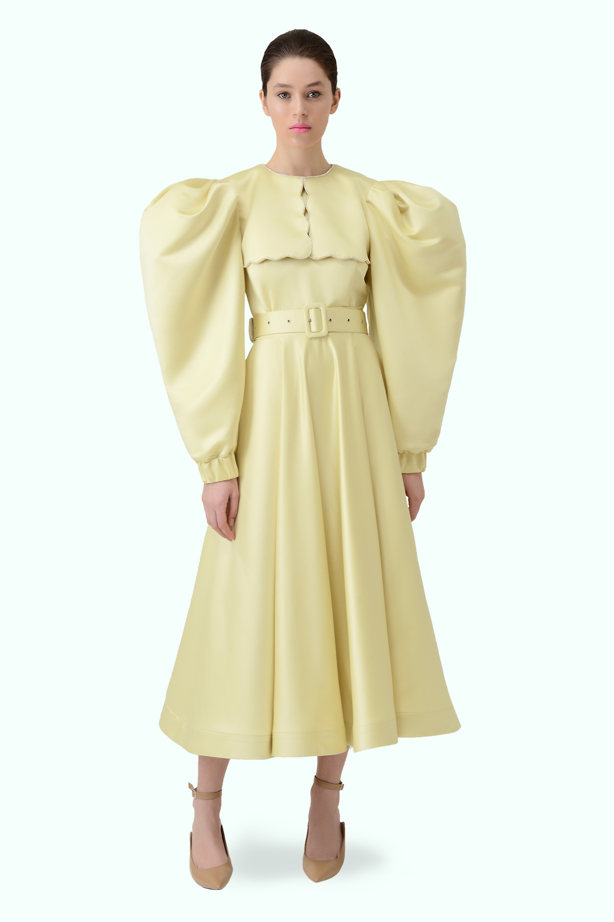 Puff sleeve yellow dress with puritan collar and embroidered crystals