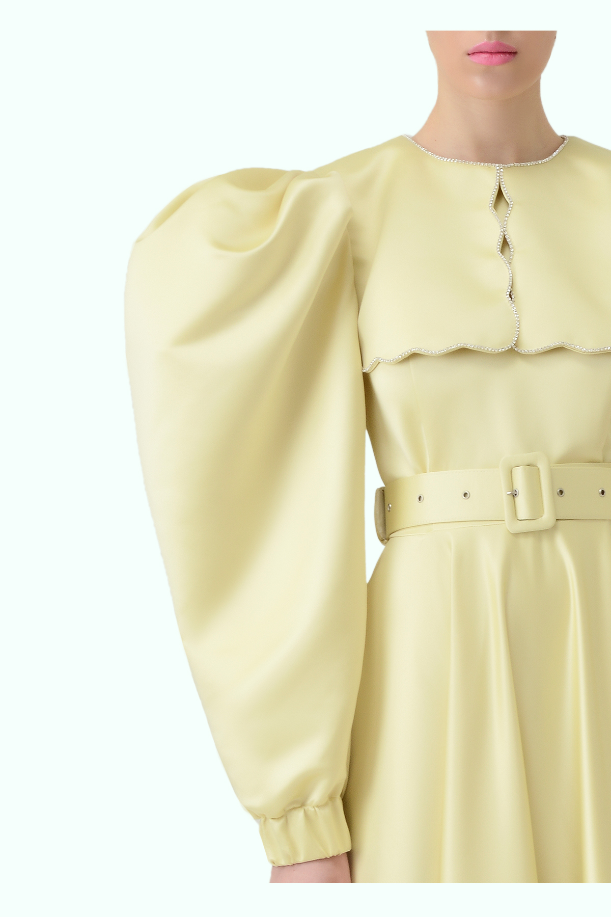 Puff sleeve yellow dress with puritan collar and embroidered crystals 2