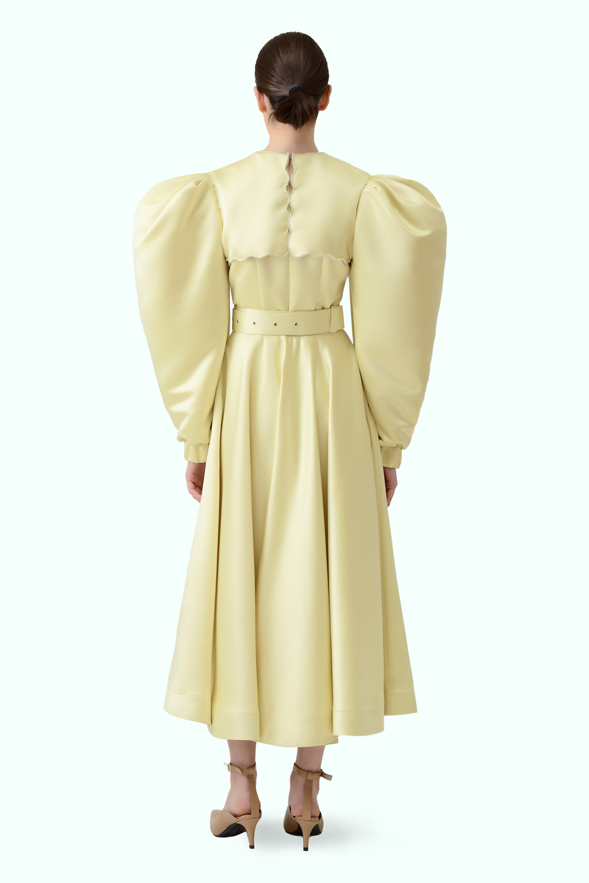 Puff sleeve yellow dress with puritan collar and embroidered crystals 3