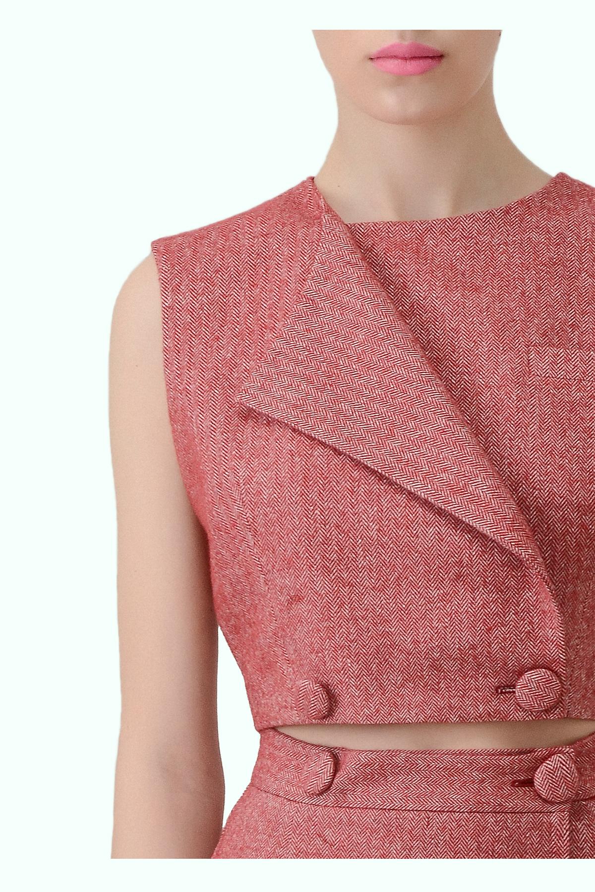 Red tweed double breast vest top 2