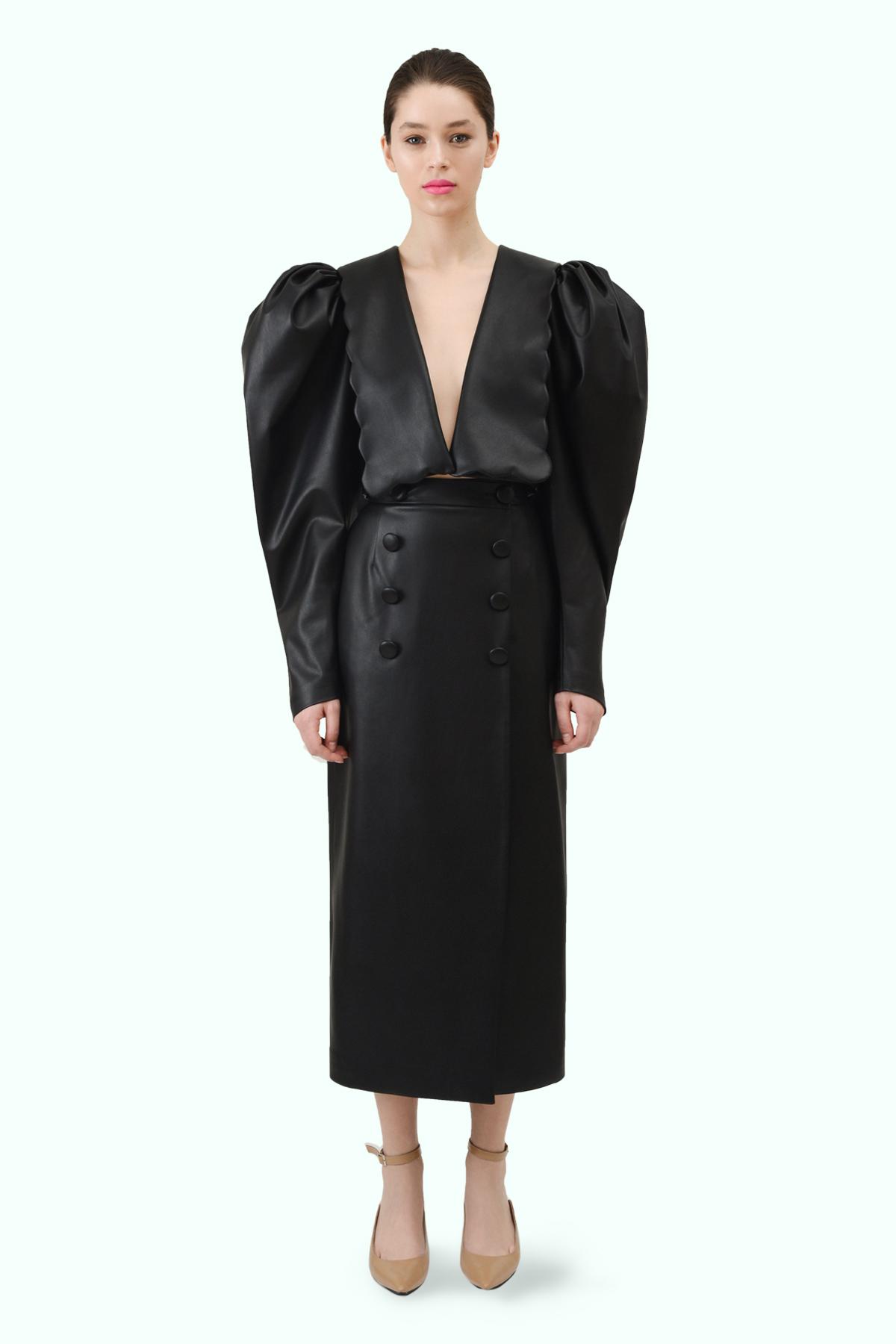 Black vegan leather high waist pencil skirt