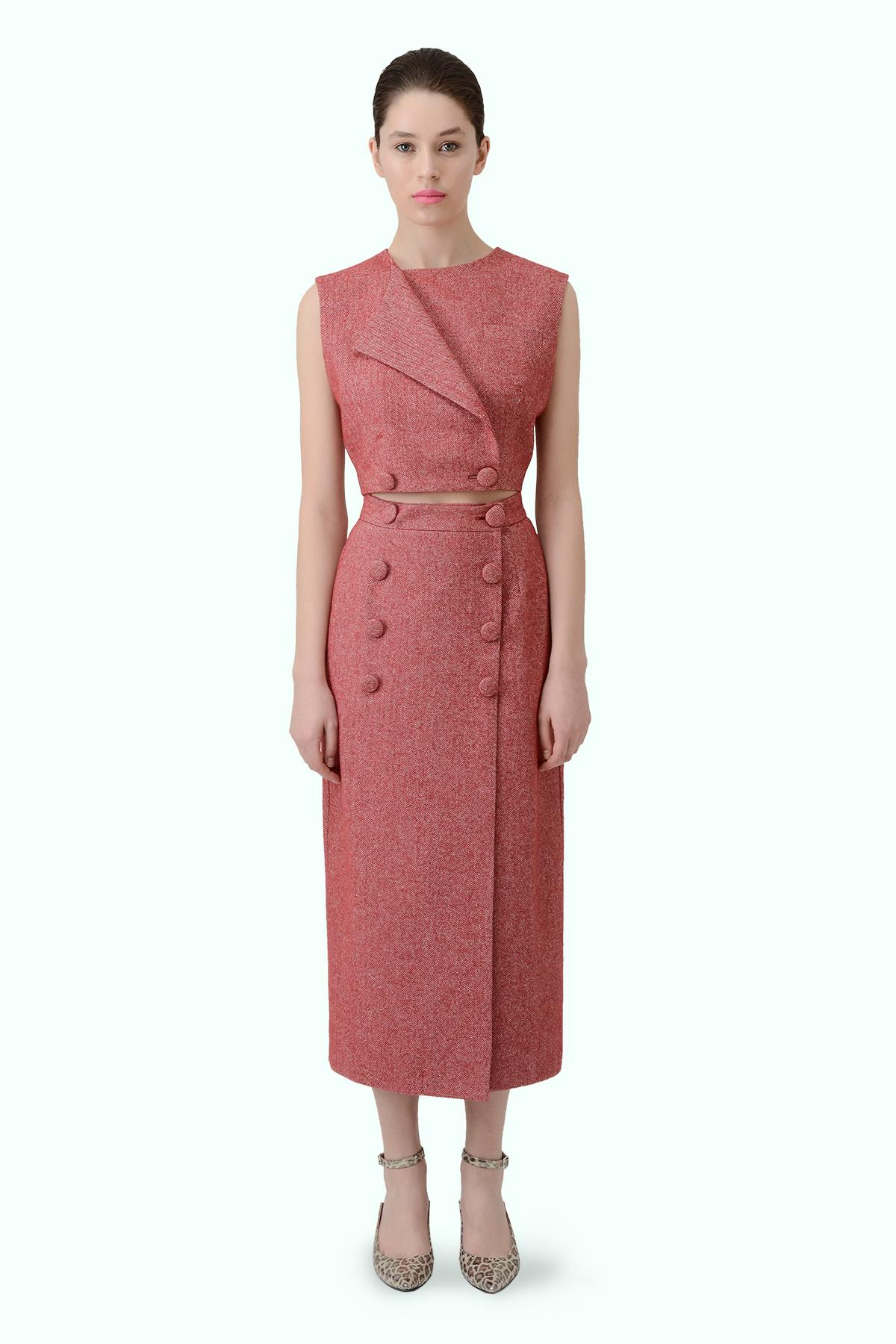 Red twed high waist skirt