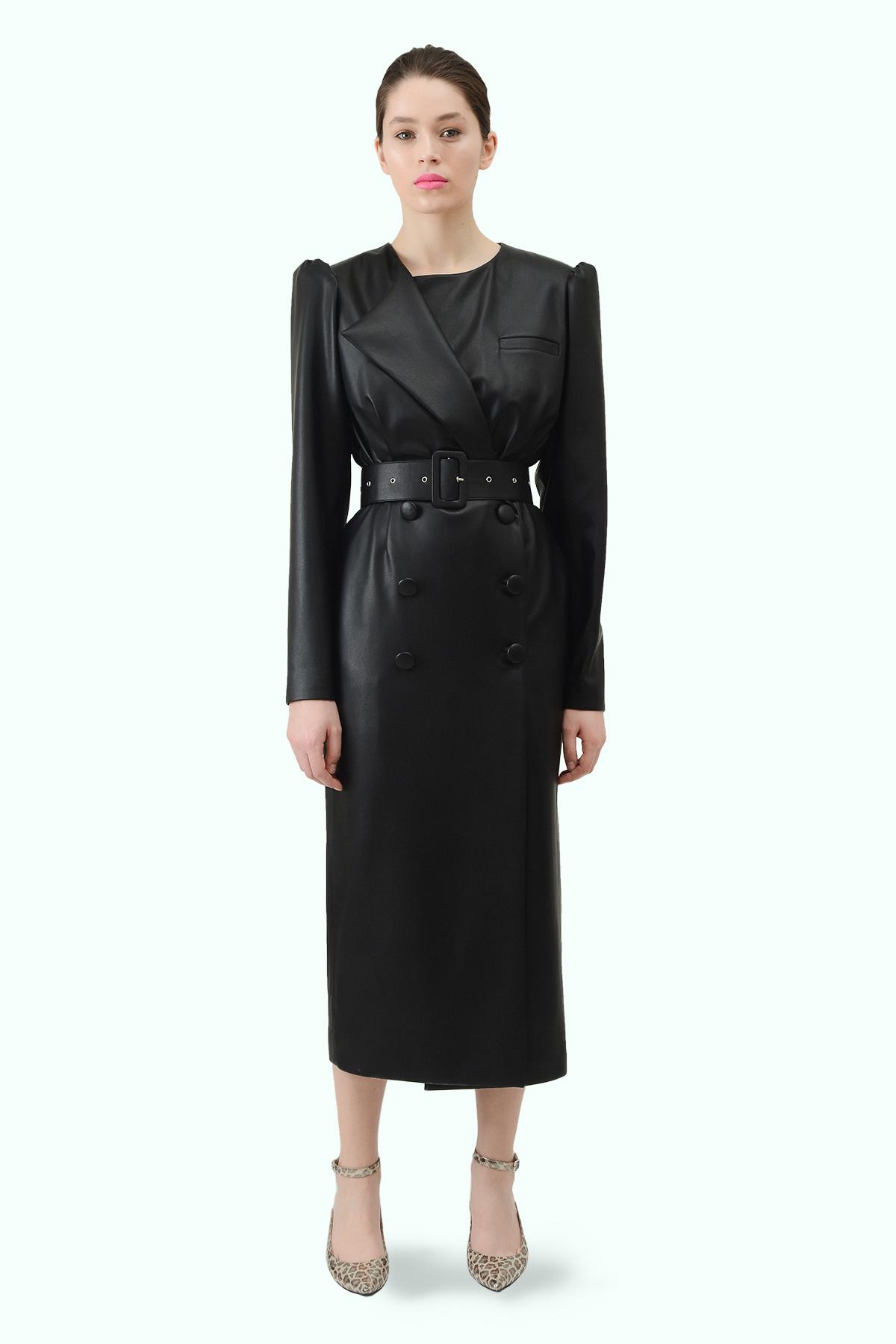 Black vegan leather double breast blazer dress