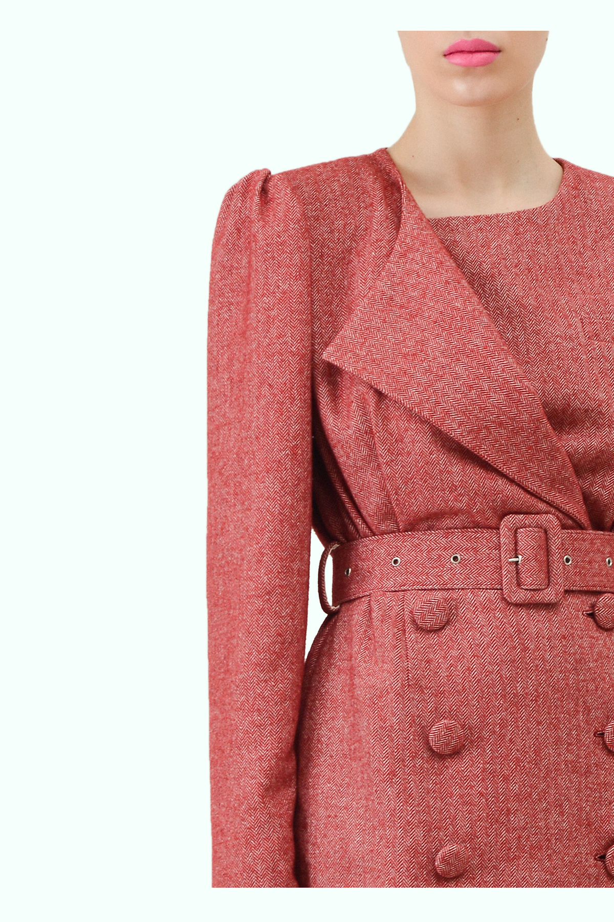 Red tweed double breast blazer dress 2